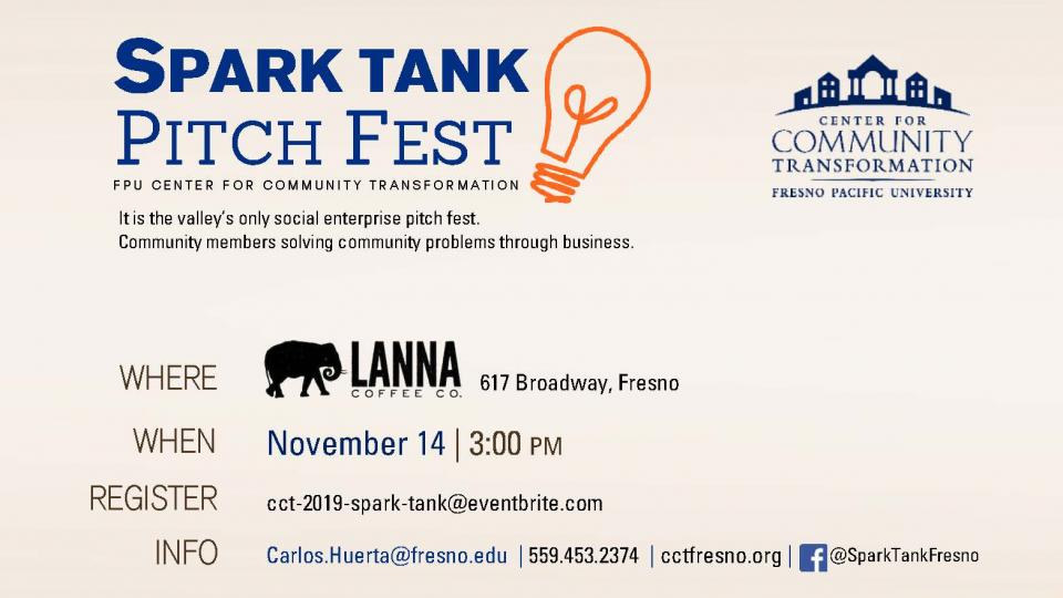 Visual representation of basic information about Spark Tank Pitch Fest contained in the article