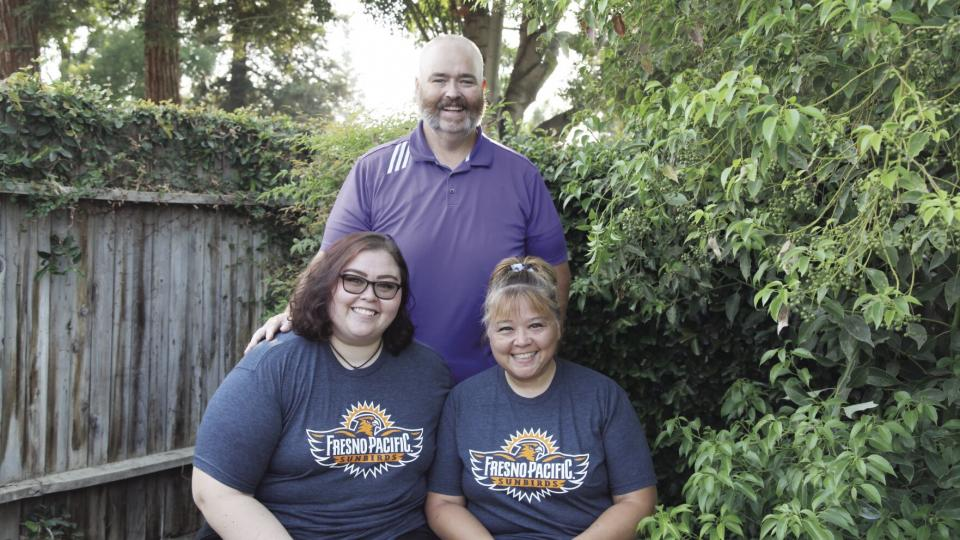 The Branson family: Mikailia, Calvin and Christina, in their Bakersfield yard