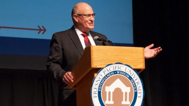 Don Griffith speaks at the Fresno Pacific University Fall Convocation in the Special Events Center