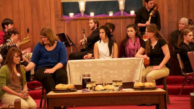 The Drama Team (Kaitlyn Nichols, Angela Ellington, Erica Rivera, Hannah Blatchford, Katie Johnson) perform the story of Mary washing the feet of Jesus