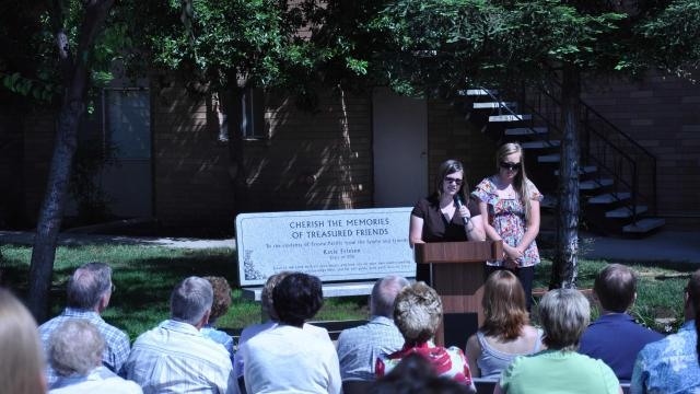 Alumni Katie Friesen and Jeanette Mathews are remembered with bench dedication