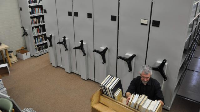 Book shelf units purchased by the California Mennonite Historical Society for Hiebert Library