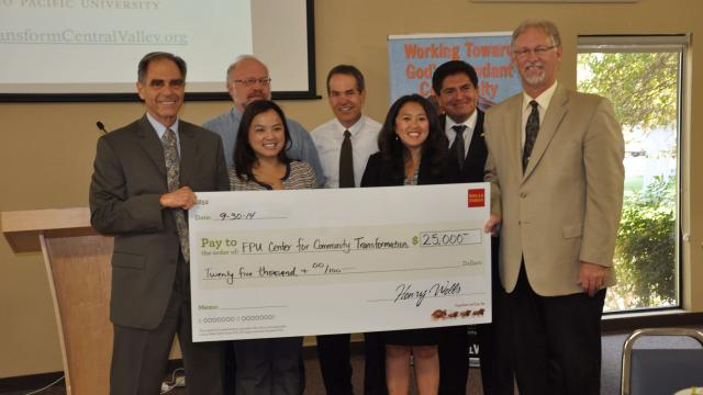 back row, from left: Brensinger; Tim Rios, Wells Fargo community development manager; and Rhodes. Front row, from left: Kriegbaum; Sandy Cha Mumper, Wells Fargo vice president of community affairs; Geri Yang-Johnson, Wells Fargo community development officer; and White.