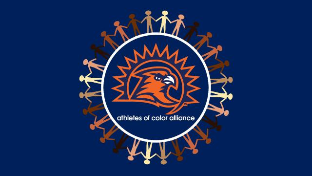 Logo of the Athletes of Color Alliance includes the FPU athletics logo surrounded by illustrations of people of many colors.