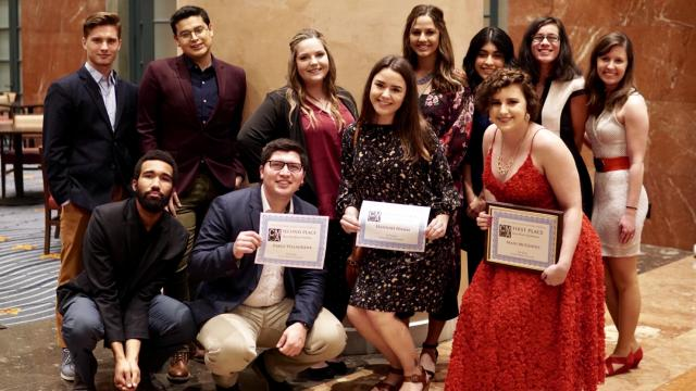 PHOTO: FPU students won three California College Media Association awards March 2. The Syrinx was represented by 11 student editors and adviser Adam Schrag, Ph.D., associate professor of communication (not pictured). Front row (l-r): Kyland Hall, Pablo Villagrana, Hannah Hamm, Madison McGinnis. Back row (l-r): Loren Friesen, Leonel Loera, Abigail Brown, Hannah Miller, Odalis Sanchez, Hailey Cablao, Rachel Kaneversky. (Syrinx staff photo)