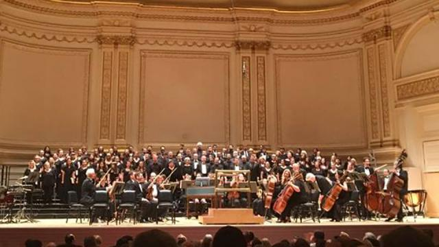 Fresno Pacific University Concert Choir singing with other choirs in New York's Carnegie Hall