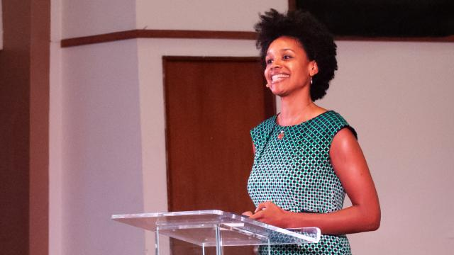 Believers Lectrue Series speaker Christena Cleveland smiles during her first talk in Butler Church.