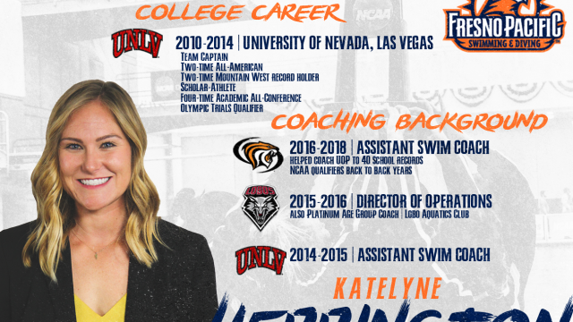 Graphic with information on new Sunbirds swimming and diving coach Katelyn Herrington