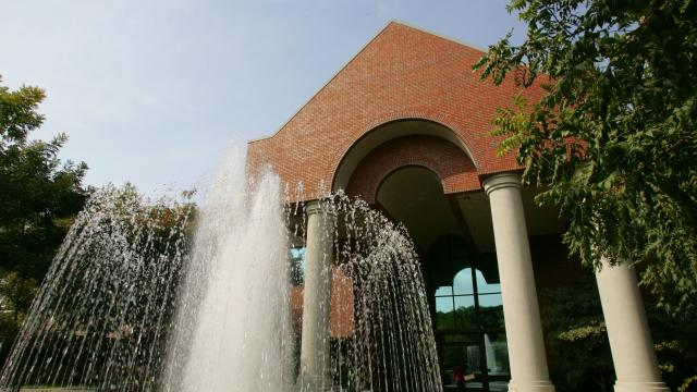 The fountain behind McDonald Hall in the main Fresno Pacific University campus