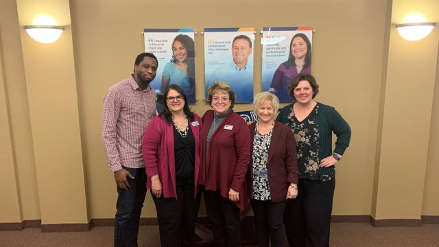 Members of the FPU nursing education team involved in accreditation. From left—Leland Speed, program assistant (former); Jamie Muller, senior program assistant; Rox Ann Sparks, BSN program director; Rhonda Kazik, nursing department chair (former); and Stacy Wise, MSN/FNP program director.