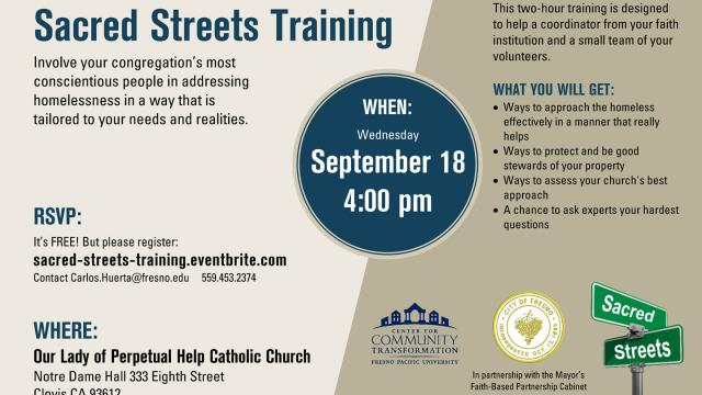 Flyer for the Sacred Streets training event