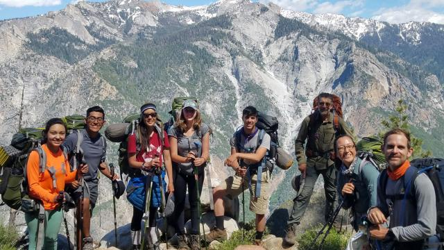 A group of FPU Sierra program participants in the mountains.