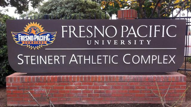 Sign showing FPU's Stienert Athletic Complex