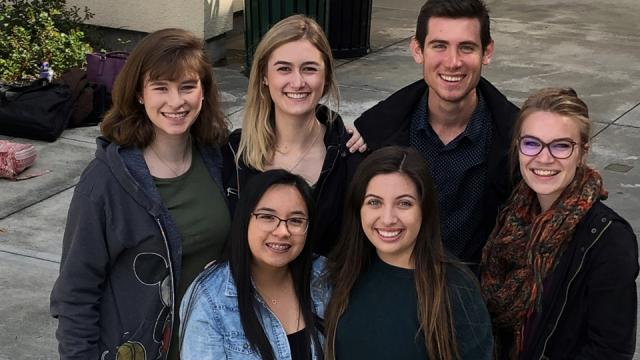 Photo: (back row, from left) Elaine Wilkinson, freshman music performance major, Mariposa; Lauren Nichols, junior music performance/studio art major, Clovis; Brett Peters, senior accounting major, Kingsburg; and Katie Isaac, junior environmental science major, Visalia. (Front row, from left) Regina Abad, junior music education major, Hanford; and Abrianna Gomez, sophomore music education major, Fresno.