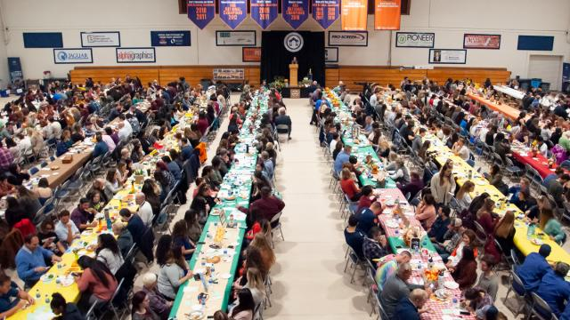 The view from the mezzanine in the Special Events Center of more than 700 members of the FPU community enjoying the annual Thanksgiving Luncheon