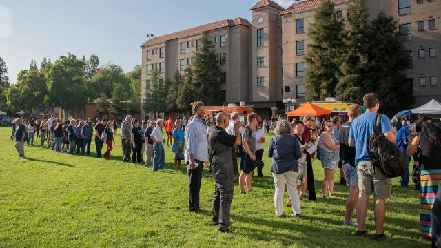 FPU community members gather on the main campus Green to begin the 75th Anniversary celebration