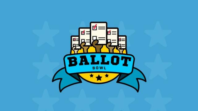 Graphics showing Ballot Bowl logo