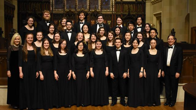 Members of the Duke University Chorale in formal concert attire.