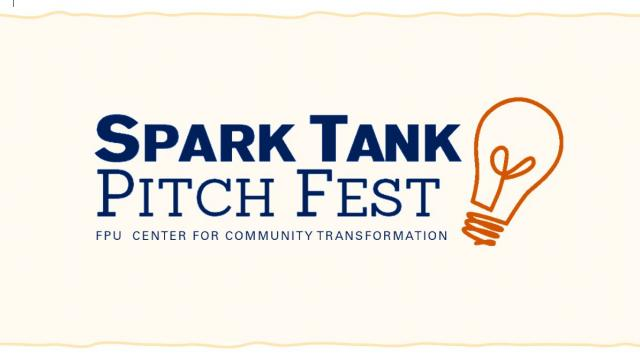 Text: Spark Tank Pitch Fest, Center for Community Transformation. Image: lightbulb logo