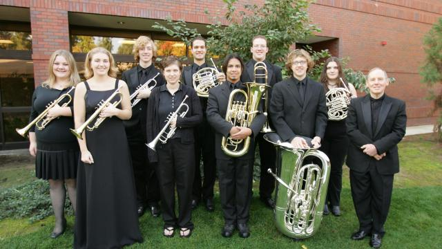Wayne Huber, far right, with the 2005-2006 Pacific Brass