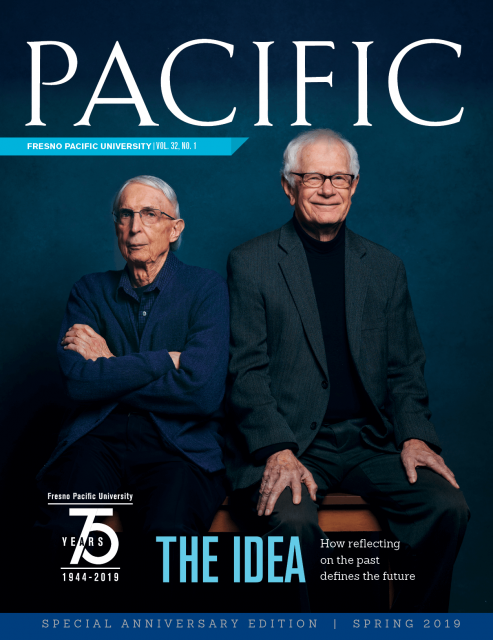 "Spring 2019 Pacific Magazine Cover, Fresno Pacific University Vol. 32 No. 1: ""The Idea: How Reflecting on the Past Defines the Future"""