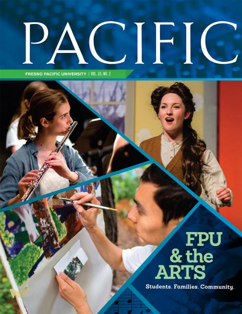 Pacific Magazine cover with students playing the flute, painting and acting in a play