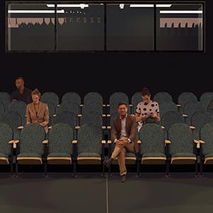Rendering of four people sitting in theater style chairs