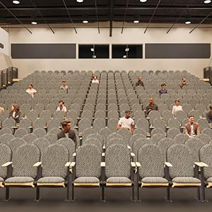 Rendering of large auditorium with people interspersed