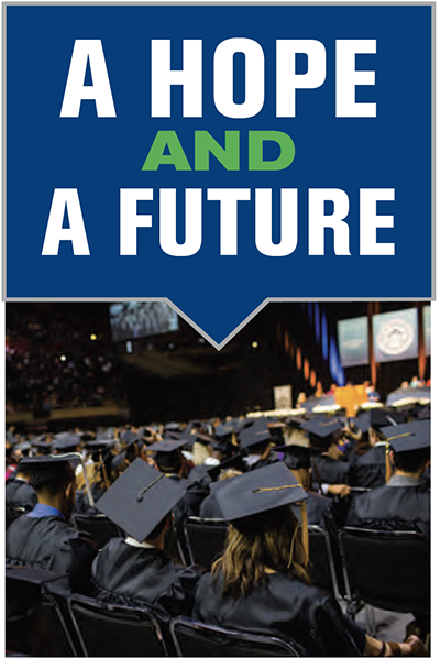 A hope and a future text above image of students at graduation